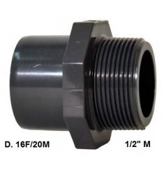 """ADATTATORE PVC D. 16 F x 20 M x 1/2"""" M"""